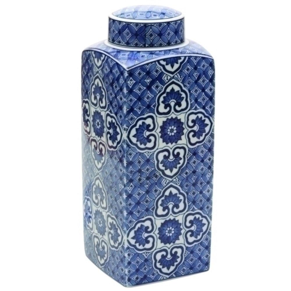 Pote Decorativo Azul E Branco
