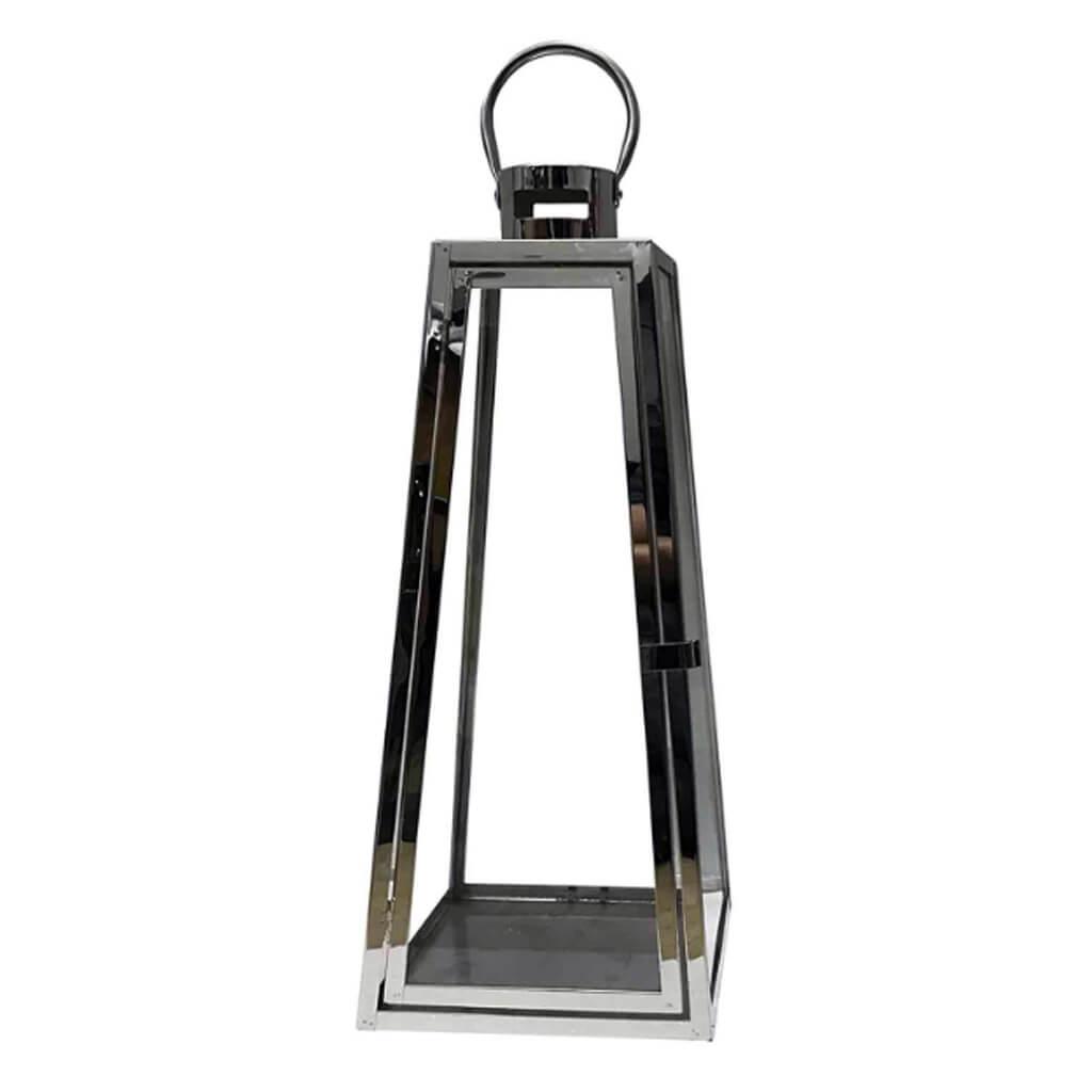 Lanterna de Vidro Metal Prata M