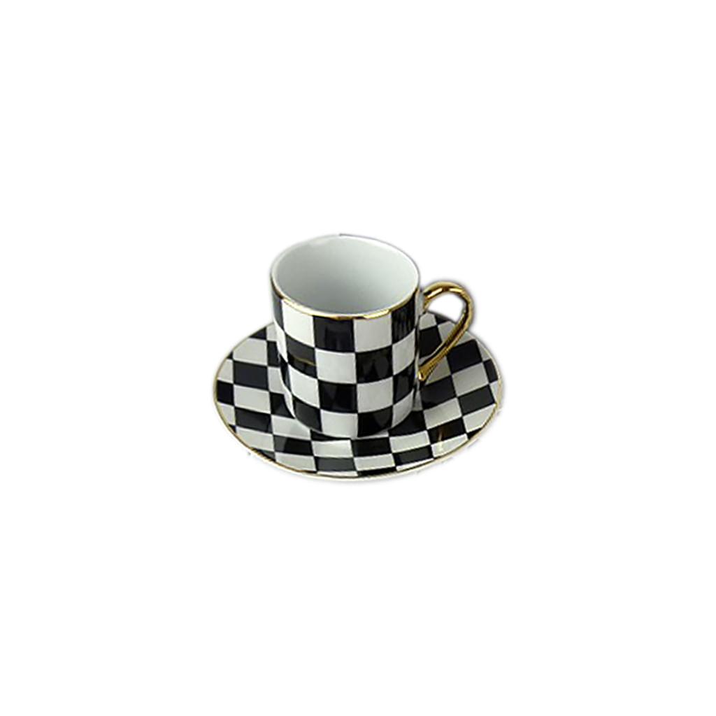 Xícara Café Preto e Branco c/6