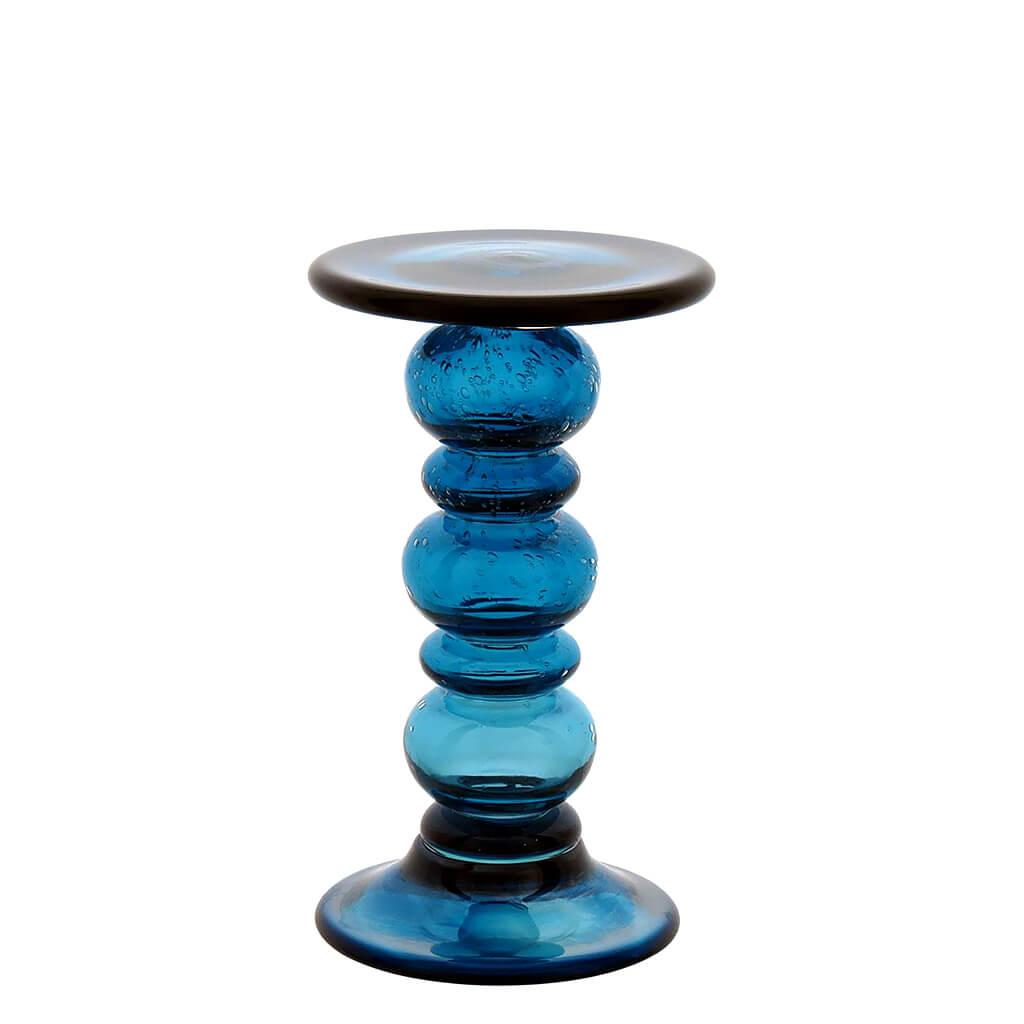 Castiçal Vidro Azul